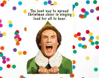 Funny Christmas Card, Elf Movie, Will Ferrell, Buddy, (100% Recycled Paper)
