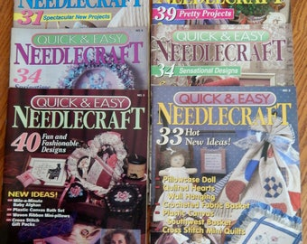 Vintage Quick and Easy Needlecraft Magazines from 1992 and 1993 (6 magazines)