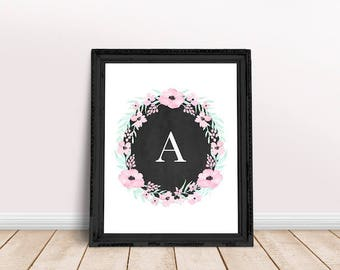 Baby Initial Decor A   Personalized Name, Floral Wreath Letter, Initial, Floral Alphabet, Floral Letter, Abby Personalized, Abby