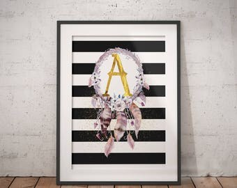 Dreamcatcher Initial A | Floral Letter, Floral Wreath Letter, Name Letter Poster, Abby Personalized, Dreamcatcher Name, Floral Wreath Name
