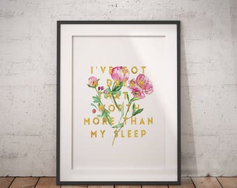 Encouragement Gift Dream Worth More Than My Sleep | Follow Your Dreams, Achieve Quotes, Dream Big Quote, Printable Poster, Inspiring Saying