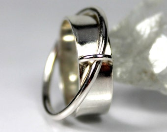 Satellite Fidget Ring, Sterling Silver Ring, Anxiety Ring, Meditation Ring, Joined Rings, Unique Jewellery