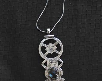 Tuareg Cross Labradorite Stone - White Brass - Tribal - Ethnic - Boho - Gypsy - Travel Inspiration - Gems - Chain