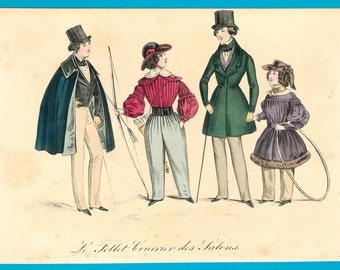 Antique 1830s children archery fashion print toys boy girl Regency Victorian