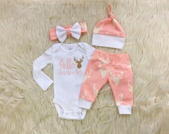 Newborn girl coming home outfit, baby girl homecoming outfit, pink baby outfit, newborn clothing set, deer head baby pants, deer leggings