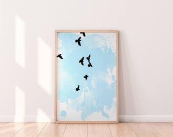 Flying Birds Watercolor Art, Simple Bird Silhouette Print, Printable Bird Wall Decor, Blue Sky Art, Download Minimalist Art, Flying Animal
