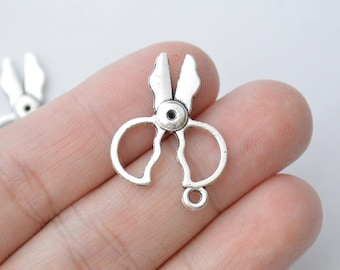 8 Pcs Scissor Charms Antique Silver Tone 2 Sided 28x21mm - YD0045