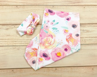 Pink Floral Newborn Swaddle Bag / Sack / Pod / Cocoon / Baby Girl Coming Home