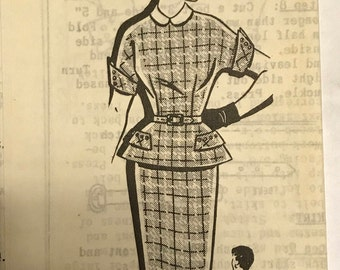 1950s Mailorder Two Piece Suit Dress Pattern, B36
