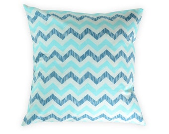Blue chevron pillow cover - Blue aqua throw pillow