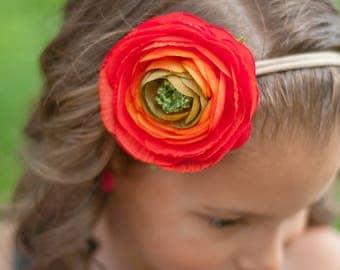 Peony Headband, Red Floral Headband, Orange Floral Headband, Red Flower Headband, Big Headband, Spring Headband, Bohemian Headband