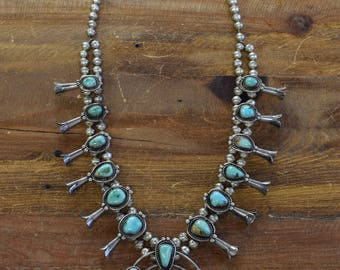Vintage Sterling Silver Turquoise Squash Blossom Necklace