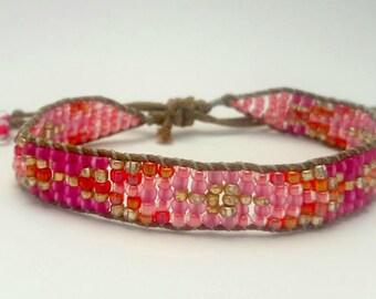Pink Adjustable Patterned Beaded Bracelet