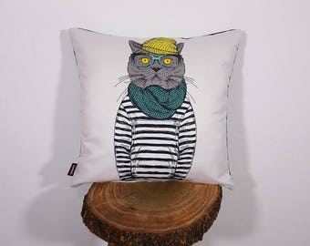 Hipster Cat Pillow Cover British Shorthair Cushion