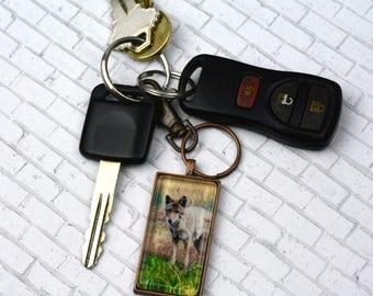 Coyote Keychain  Yellowstone National Park Souvenir Keychain Wildlife Keychain Rectangle Keychain Photo Keychain