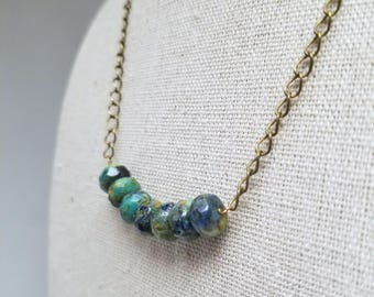 Blue Green Bead and Brass Chain Necklace