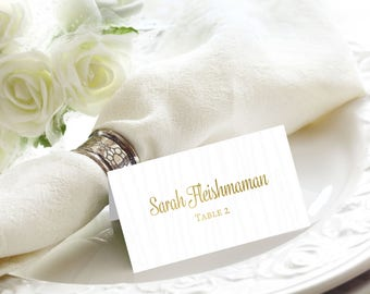 Rustic Wood Gold Foil Wedding Place / Name Cards