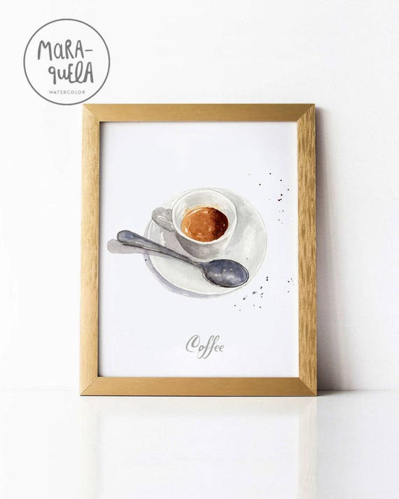 COFFEE illustration, Breakfast ,espresso cafe italiano. Decoracion cocina, kitchen decor