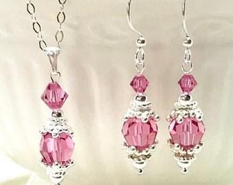 Pendant/Earring Set, Bridesmaid Jewelry, Bridesmaid Pendant/ Earring Set, Bridal Party Jewelry, Birthstone Jewelry