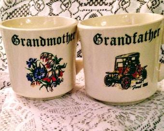"Vintage Coffe Mug Set ""Grandmother & Grandfather"" ca 1970"