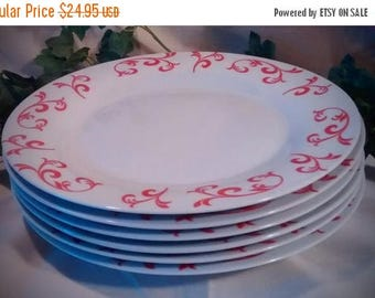 ON SALE Set of 6 Vintage China Dinner Plates – White with Red Design