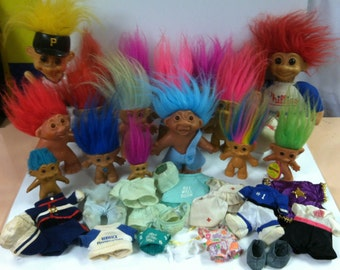 Vintage Retro Treasure Trolls Mixed 39pc Lot Troll Dolls & Clothing Russ Wishnik Norfin DAM ACE Novelty  UC