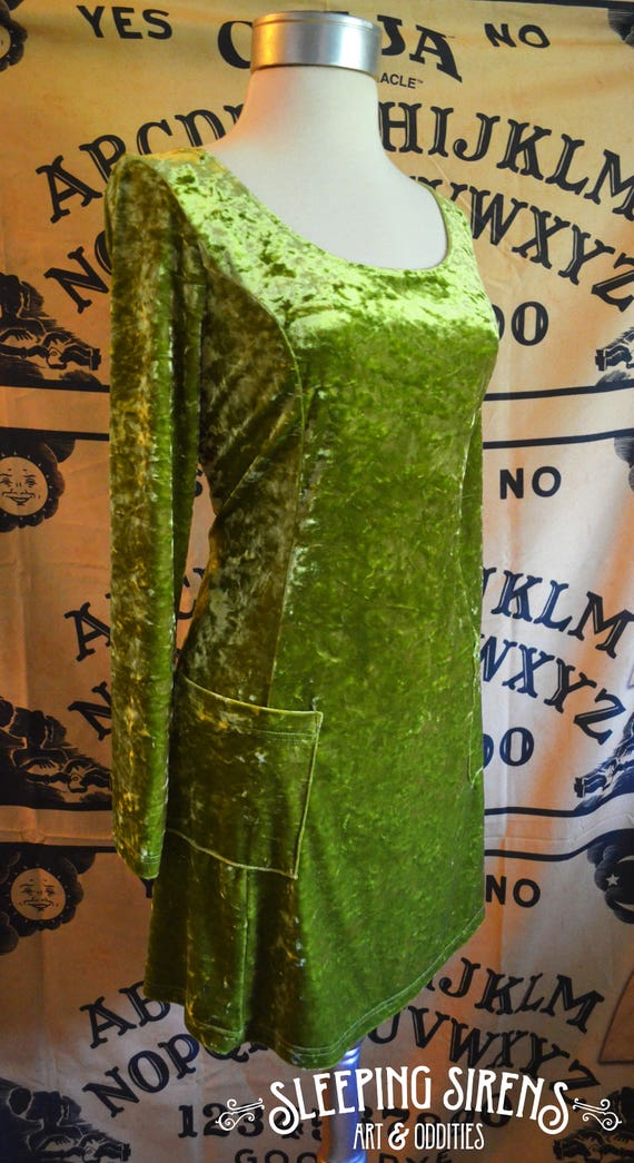 Vintage Crushed Velvet Lime Green Tie Back Dress