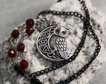 Chain necklace with red and black beads and OWL pendant and Pentagram black metal