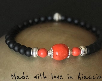 Coral ethnic man and tourmaline bracelet