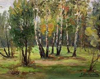 VINTAGE FOREST LANDSCAPE Original Oil Painting by Soviet Ukrainian Artist Shestunov I. 1964, Signed, Woodland, Ukrainian Art, High Quality