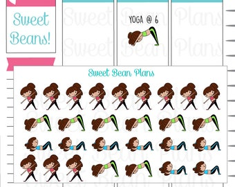 Hand Drawn Doodle Girls- Exercise/Workout/Yoga Planner Stickers