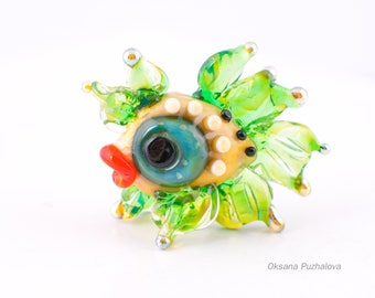 handmade glass lampwork bead with fish, Lampwork beads, glass fish, lampwork focal bead, glass lampwork bead, , Green fish, fairy fish