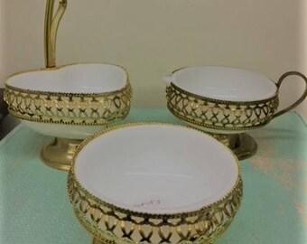 Vintage Cream, Sugar & Condiment Set