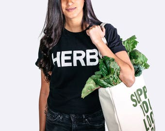 Herbs T Shirt for Women or Men in 100% Organic Cotton Made in the USA – Awesome Foodie T Shirt !