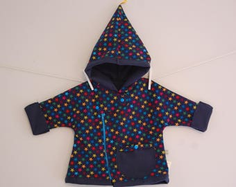 Shell Pixie - colored stars hooded coat / T.18 month Navy Blue