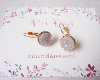 White Druzy Earrings / Leverback Earrings / Drop Earrings / Rose Gold Earrings / Faux Druzy / White Earrings / Sparkle / Gift / Wish Knots