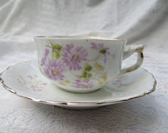 Vintage Weimar Germany Demitasse Tea Cup and Saucer Delicate Pink Flowers