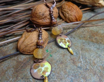 Bohemian earrings /et rustic enameled copper earrings and Lampwork, bopucles yellow and copper, copper metal beads.