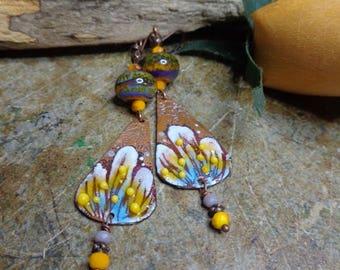 Dangle earrings boho-hippie-floral-spring-colored, enameled copper earrings, Lampwork, Czech glass, lampwork earrings