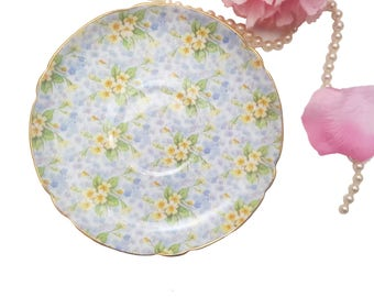 Shelley Replacement Saucer Only, Primrose Pattern, Blue Yellow Floral Chintz Saucer, Made in England