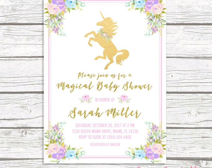 Unicorn Baby Shower Invitation, Unicorn Invitation, Girl Baby Shower Invitation, Floral Unicorn Invitation, Pink and Gold Baby Shower Invite