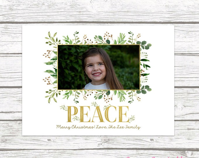 Christmas Photo Card, Leaves Christmas Photo Card, Floral Christmas Card, Peace Holiday Card, Gold Christmas Card, Greenery Christmas Card