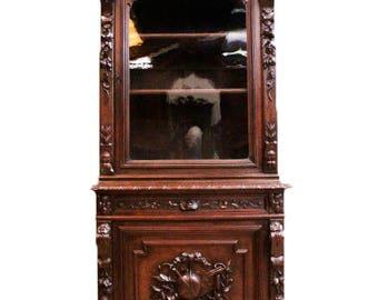 Antique French Hunt  Cabinet, Narrow Model, 19th Century-Oak #8792