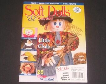 "Soft Dolls & Animals Magazine October / November 2001, Autumn Scarecrow, Woodland Troll, Fabrica The Clown, 9"" Duck, Teddy Bag, Angel Doll"