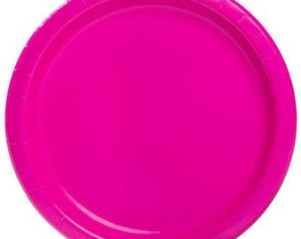 Neon Pink Dinner/Lunch Paper Plates (9in.) 55ct