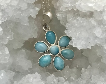 Larimar-Flower-Pendant-Sterling Silver-Chain-Necklace-for her
