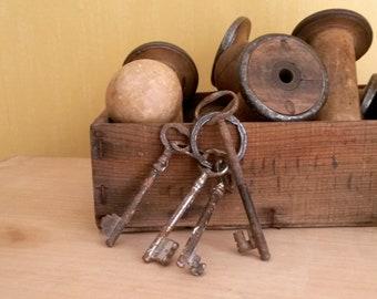 4 Old Iron Keys, Large Vintage Farm Keys, Wabi Sabi Decor, Big Rusty Keys, French Farm Keys, circa 1910s