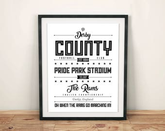 Derby County Poster; Typographic Football Team Print