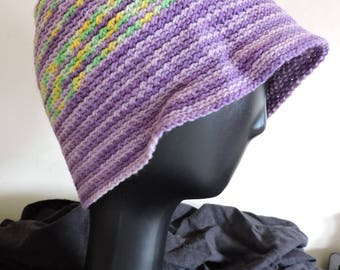 Beanie - hat in purple and green cotton