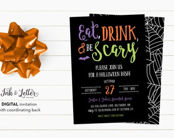Halloween Party Invitations - Halloween Party Printable Invitation - Eat Drink and Be Scary - Colorful Halloween Invitations - Printables